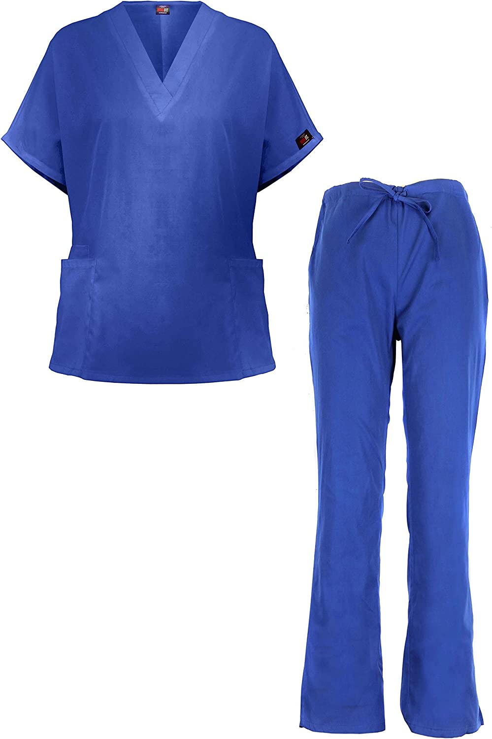 G Med Women's Medical Scrub Set VNeck 2 Pocket Top Pant 2 Piece Set