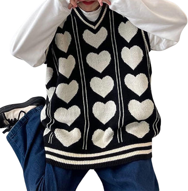 Oversized Knit Sweater Vest for Women Sleeveless Preppy Style Tops Y2k Heart Pattern V-Neck Knit Pullover Streetwear