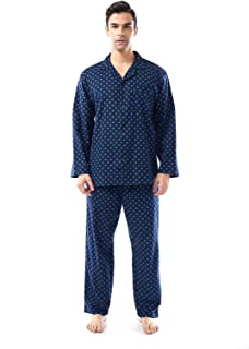 Miller & Jones Mens Pajamas 2-Piece Set, Cotton Long Sleeves Classic Style Night Sleep Suit Set with Top and Pants/Bottoms...
