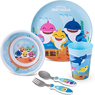 Franco Kids Dinnerware Cartoon Designed Mealtime Kitchen Set, 5 Piece Pack, Baby Shark