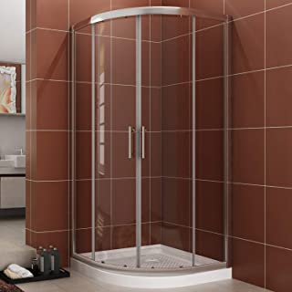 SUNNY SHOWER Neo-Round Corner Shower Doors 1/4 inch Clear Glass Sliding Shower Enclosure 36 7/10 in. x 36 7/10 in. x 71 4/5 in, Chrome Finish, 38in x 38 in. x 3 in. Shower Base Included