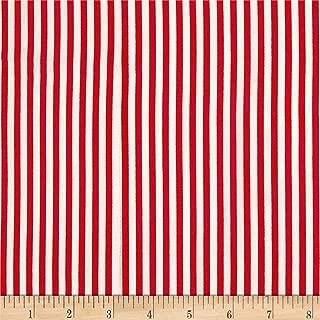 TELIO Red White Dali Rayon Poplin Print Stripe Fabric by The Yard