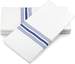 """SIMULINEN Dinner Napkins – Decorative Napkins – Cloth Like & Disposable Blue Bistro with Pocket – Elegant & Durable – Soft & Absorbent – Large 17""""x17"""" – Packaged for Easy Storage – Box of 75"""