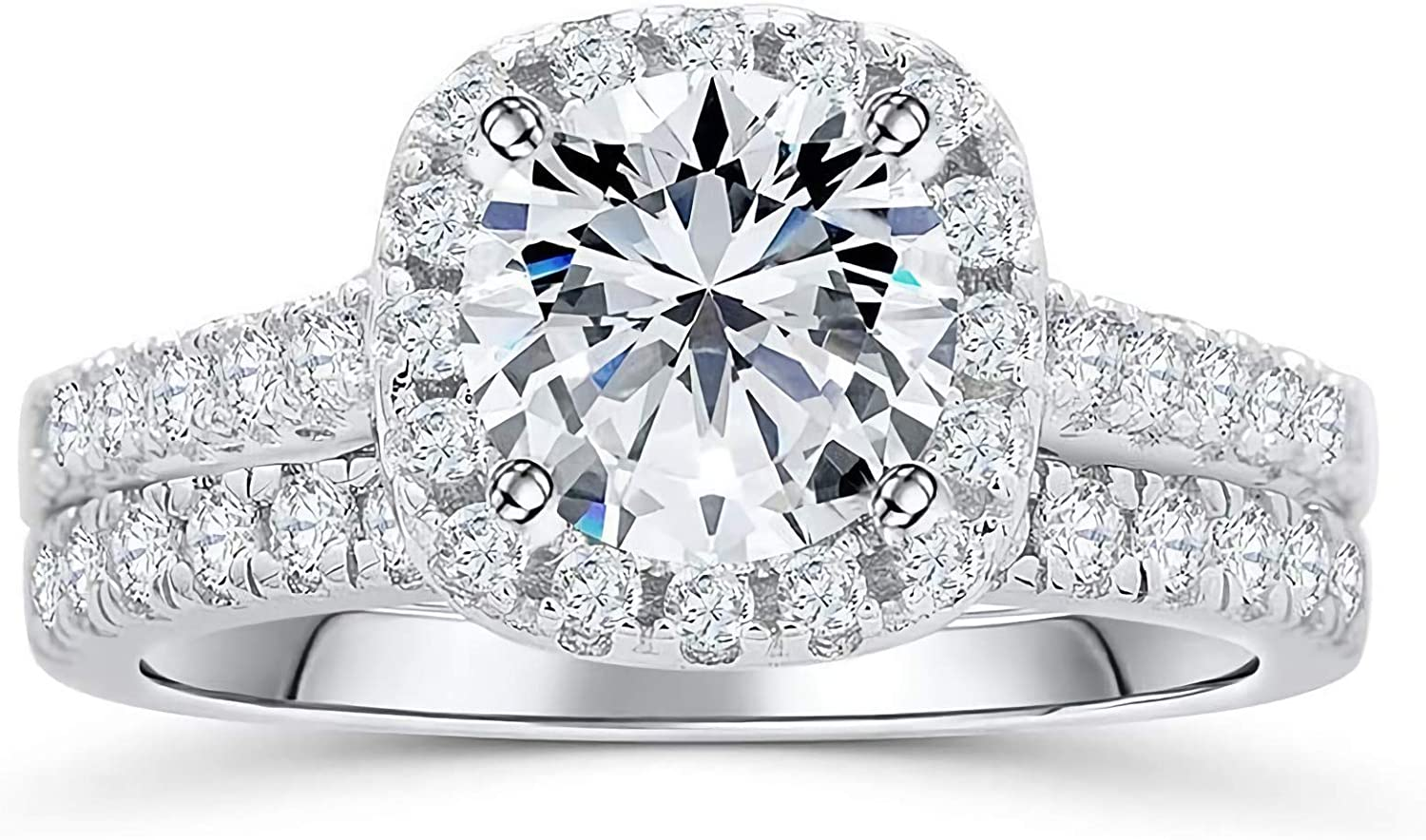 Aihpos 1-1 2 Carat ctw Moissanite Sets wholesale Rin Louisville-Jefferson County Mall Halo Bridal Wedding