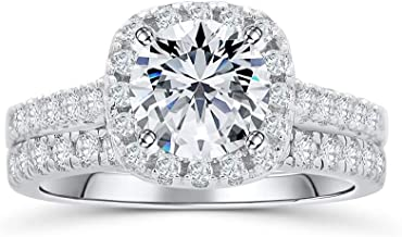 Blocaci Halo Engagement Ring Sets Bridal Sets Wedding Rings Silver Plated Platinum, 1-1/2 Carat (ctw) Moissanite Wedding R...
