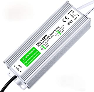 LED Driver 150W 12.5A Waterproof IP67 Power Supply 12V DC Transformer Adapter Thinner and Durable Low Voltage Power Supply for LED Strip Lights LED Module and Power Accessories