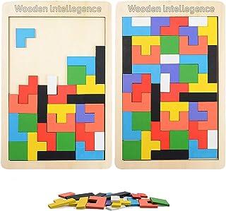 LOVEXIU Tangram Jigsaw Brain Teaser Toy(40 Piezas), 2 pcs Puzzle Tetris de Madera, Juguetes de geometría, Rompecabezas de ...