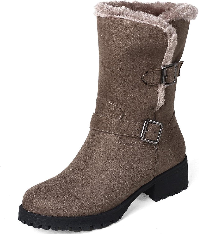 SaraIris Buckle Platform Plush Warm Mid-Calf Boots for Women