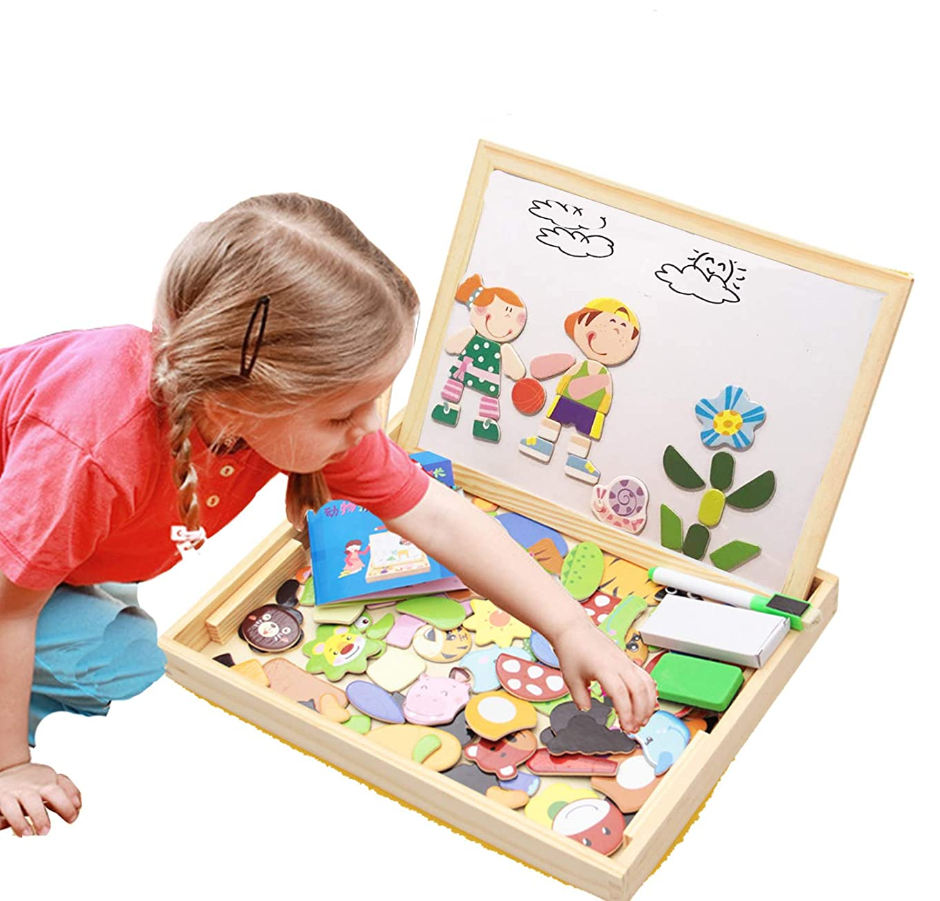 ODDODDY Educational Wooden Toys for Girls Boys Kids Children Toddlers Magnetic Drawing Board Puzzles Games Learning for Age 3 4 5 6 7 8 9 Year Old Gift Idea Birthday Halloween Christmas (kids2)