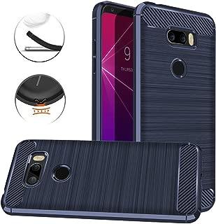 LG V35 ThinQ Case, LG V30S ThinQ Case, Dretal Carbon Fiber Shock Resistant Brushed Texture Soft TPU Phone case Anti-Fingerprint Flexible Full-Body Protective Cover for LG V35 ThinQ / V30S (Navy)
