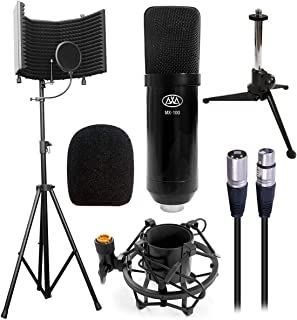 "AxcessAbles SF-101KIT Half Dome 32.5""Wx13""H (422sq inch) Studio Microphone Isolation Shield w/Stand, Condenser Mic. Compatible w/Focusrite, Phantom Powered Audio Interfaces. Recording, Podcast,"