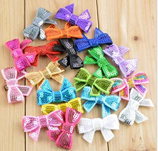 YYCRAFT 2 Sequin Bows Applique for Baby Girls Headband Hair Accessory DIY Craft(28 Mix)