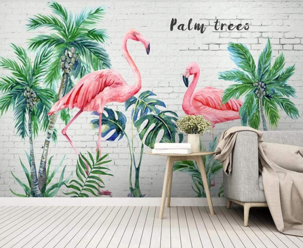 Papier Peint 3D Panoramique Mur De Briques Flamant Rose Feuille De Bananier For/êt Tropicale Tapisserie Murales Papier Peint Chambre Salon D/écoration