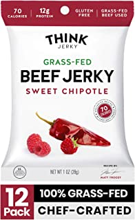 Sweet Chipotle Beef Jerky by Think Jerky — Delicious Chef Crafted Jerky — Grass-Fed Beef Free of Gluten, Antibiotics and N...