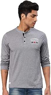 AMERICAN CREW Men's Henley Full Sleeves T-Shirt