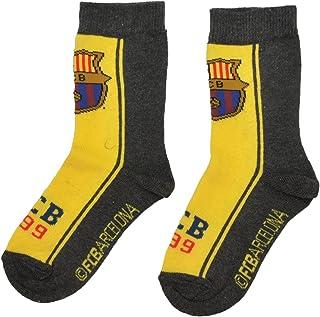 FC Barcelona, Calcetines 100% oficiales del FC Barcelona FCB para niños | Messi Suarez Neymar-UK 6-8 (EU 23-26)-Diseño 1