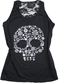Sexy Floral Skull Halloween Tank Tops Womens Back Lace Patchwork Sleeveless Shirt Tops T Shirt