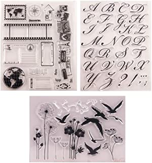 Pack of 3 Travel Alphabet Bird Flower Rubber Clear Stamps, Transparent Silicone Stamp Seal for Card Making Decoration and ...