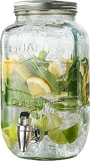 GETRÄNKESPENDER mit Zapfhahn Glas Wasserspender Fass Glaskanne Saftspender 6,5 L
