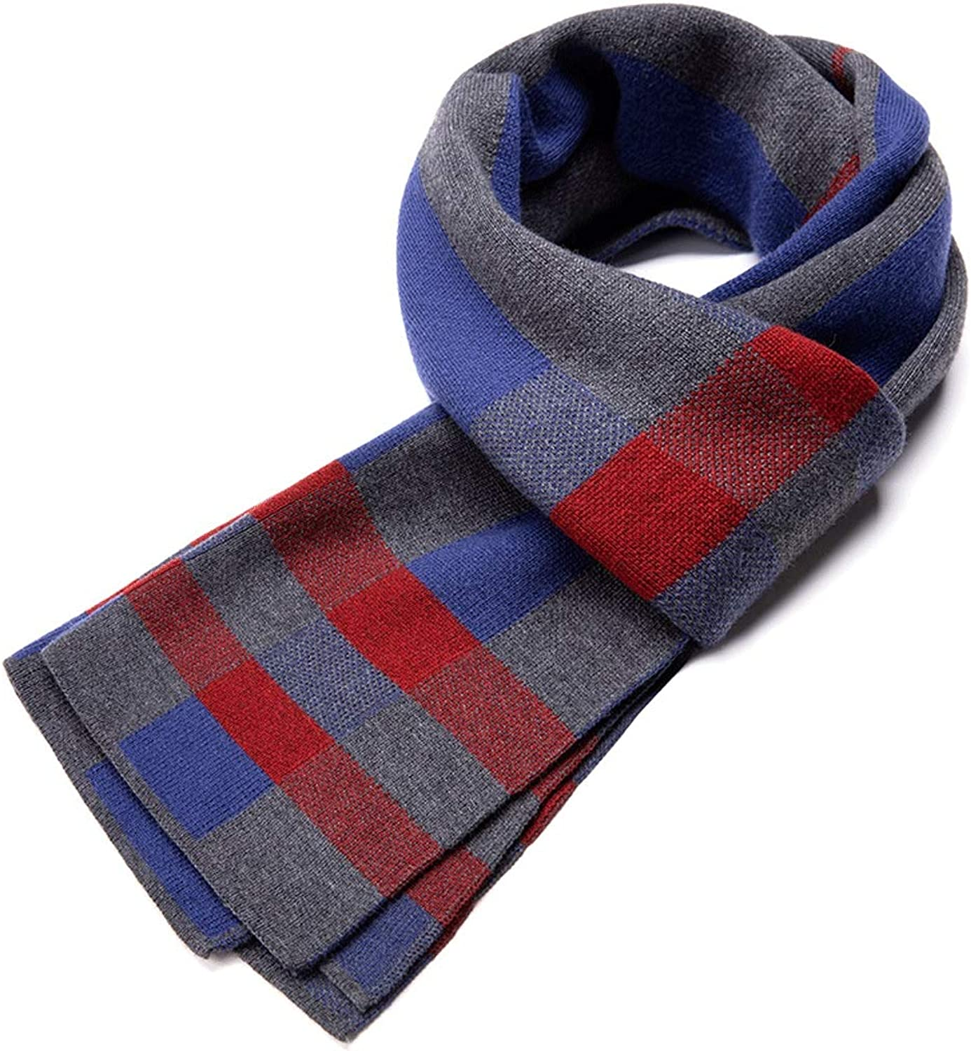 CHX Scarf Winter Thick Elastic Force Classic Stripe Young People Keep Warm 180cm×30cm V (color   bluee)