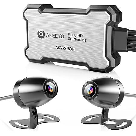AKEEYO 2021業界最新技術AIノイズリダクション ドライブレコーダー バイク 前後カメラ WiFi機能 全体防水 130°超広角 IP67防水カメラ アルミニウム放熱 Gセンサー 日本全国LED信号機対応 日本語説明書 32GBカード付き 自転車 二輪車 ドラレコ 常時録画 ループ録画 緊急録画 リモコン付き 手動ロック アクションカメラモード切替 200万画素 FullHD 1080P 取扱簡単 2020年12月販売開始 スマホ連携 煽り運転防止 GPSモジュール(別売) 一年間品質保証 AKY-958N