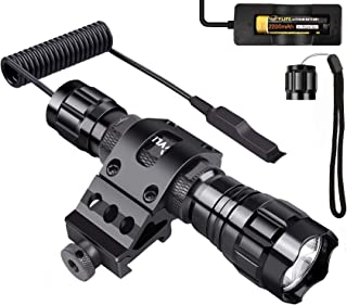 CVLIFE Tactical Flashlight 1200 Lumen LED Light with Remote Switch Picatinny Rail Mount as Outdoor Hunting Shooting Flashlight, Rechargeable 18650 Battery Included
