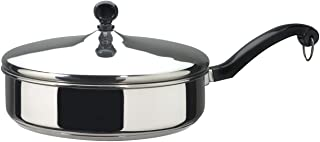 Farberware Classic Stainless Steel Saute Fry Pan with Lid, 2.75 Quart, Silver