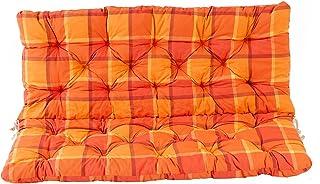 Ambientehome 2Banco Asiento y Respaldo cojín Cojines Cuadros, Color Naranja, ca 120x 98x 8cm, para Banco, Cojines Acolchados