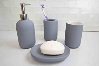 Home Basics Id Beautiful 4 Pcs Rubberized Durable Bath Accessory Set-Decorative Lotion Dispenser/Dish/Tumbler/Toothbrush Holder (Grey) Perfect Gift & Decorating Idea