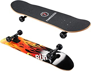 FAMEGLOSS Skateboards 31 Inches Complete Skateboards, Skateboard for Kids/Boys/Girls/Youth/Adults, Tricks Skate Board for Beginners & Pro, Double Kick 7 Layer Canadian Maple Wood Concave Skateboard