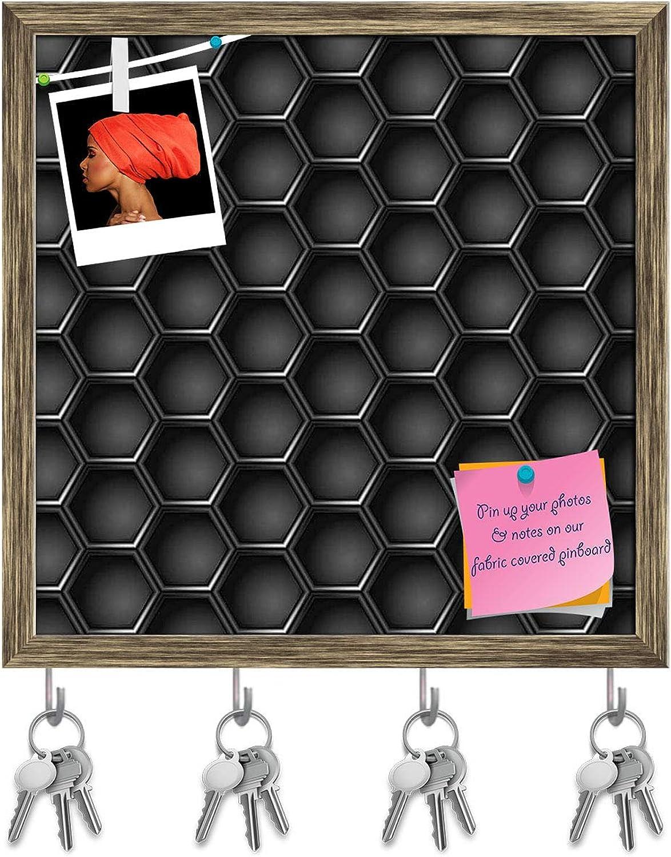 Artzfolio Hexagons Key Holder Hooks   Notice Pin Board   Antique golden Frame 20 X 20Inch