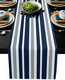 T&H XHome Dining Table Runner Dresser Scarf Linen Burlap Fabric,Irregular Stripes Blue White Gray Washable Table Runners 1...