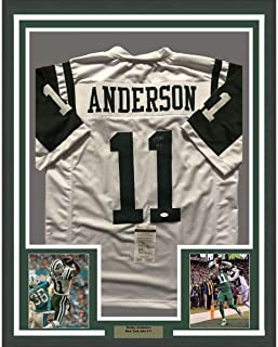 Framed Autographed/Signed Robby Anderson 33x42 New York White Football Jersey JSA COA
