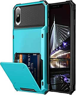 Vofolen Case for iPhone Xs Max Case Wallet ID Slot Credit Card Holder Scratch Resistant Dual Layer Protective Bumper Rugged TPU Rubber Armor Hard Shell Case Cover for iPhone Xs Max 10S Max Light Blue