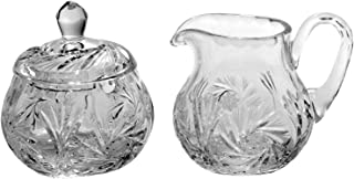 Handcut Lead Crystal Cream and Sugar Set, Pinwheel