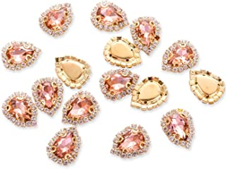 30Pcs Crystal Rhinestones Sewing on, Premium Teardrop Rhinestones Flatback Beads Buttons with Diamond, DIY Crafts Gems for Clothing, Bags, Shoes, Dress, Wedding Party Decoration (14mm Rose Gold)