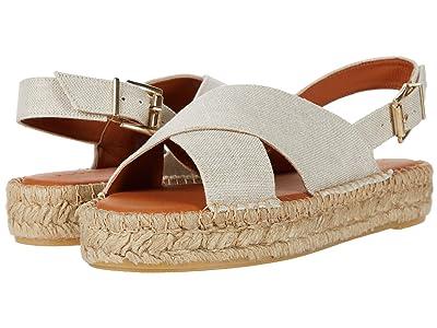 ALOHAS Crossed Linen Platform Espadrille Sandal (Wheat) Women
