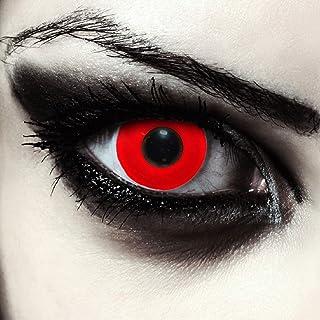 Designlenses, twee helemaal rood gekleurde halloween carnaval kostuum contact lenzen, zonder dioptrieën, gratis lenshoude...