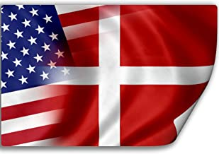 Love Denmark Flag Decal Sticker Home Pride Travel Car Truck Van Bumper Window Laptop Cup Wall MKS0175 Two 3 Inch Decals