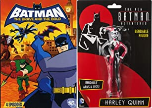Adventures Batman Harley Quinn Brave Bold V2 DVD Animated Episodes Day Dark Knight bundle with Bendable Toy Figure