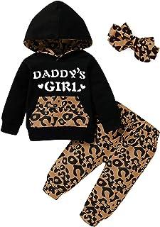 SH-RuiDu - Conjunto de 3 piezas para niña y niña, diseño de leopardo, camisa con capucha y pantalón de leopardo + diadema