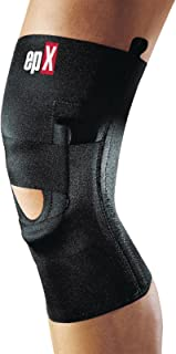 """epX Lateral J Buttress Knee Support, Knee Brace for Supporting The Patella, Provides Patella Tracking Assistance, Features 4 Medial/Lateral Stays and a Tubular""""J"""" Buttress, Pull-Up, Right, Medium"""