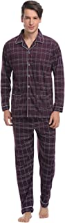 Aibrou Mens Long Sleeve Top & Pants Button Down Cotton Pyjamas Set Nightwear Lounge Wear Sleepwear