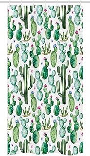 Ambesonne Green Stall Shower Curtain, Mexican Texas Cactus Plants Spikes Cartoon Like Print, Fabric Bathroom Decor Set with Hooks, 36