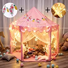 """Twinkle Star 55""""x 53"""" Princess Castle Play Tent for Girls Playhouse with 138 LED Star String Lights and Banners Decor, Kids Game House for Indoor Outdoor Game(Pink)"""