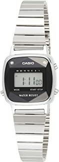 Casio Watch For Women Digital Dial Stainless Steel Band Encrusted with Diamonds - Silver, LA670WAD-1DF