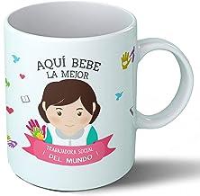 Planetacase Taza Desayuno Aquí Bebe la Mejor trabajadora Social del Mundo Regalo Original Ceramica 330 mL