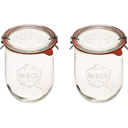 Weck Jars - Weck Tulip Jars 1 Liter - Large Sour Dough Starter Jars - Tulip Jar with Wide Mouth - Suitable for Canning and Storage - 2 Sourdough Jars with (Jars, Glass Lids)