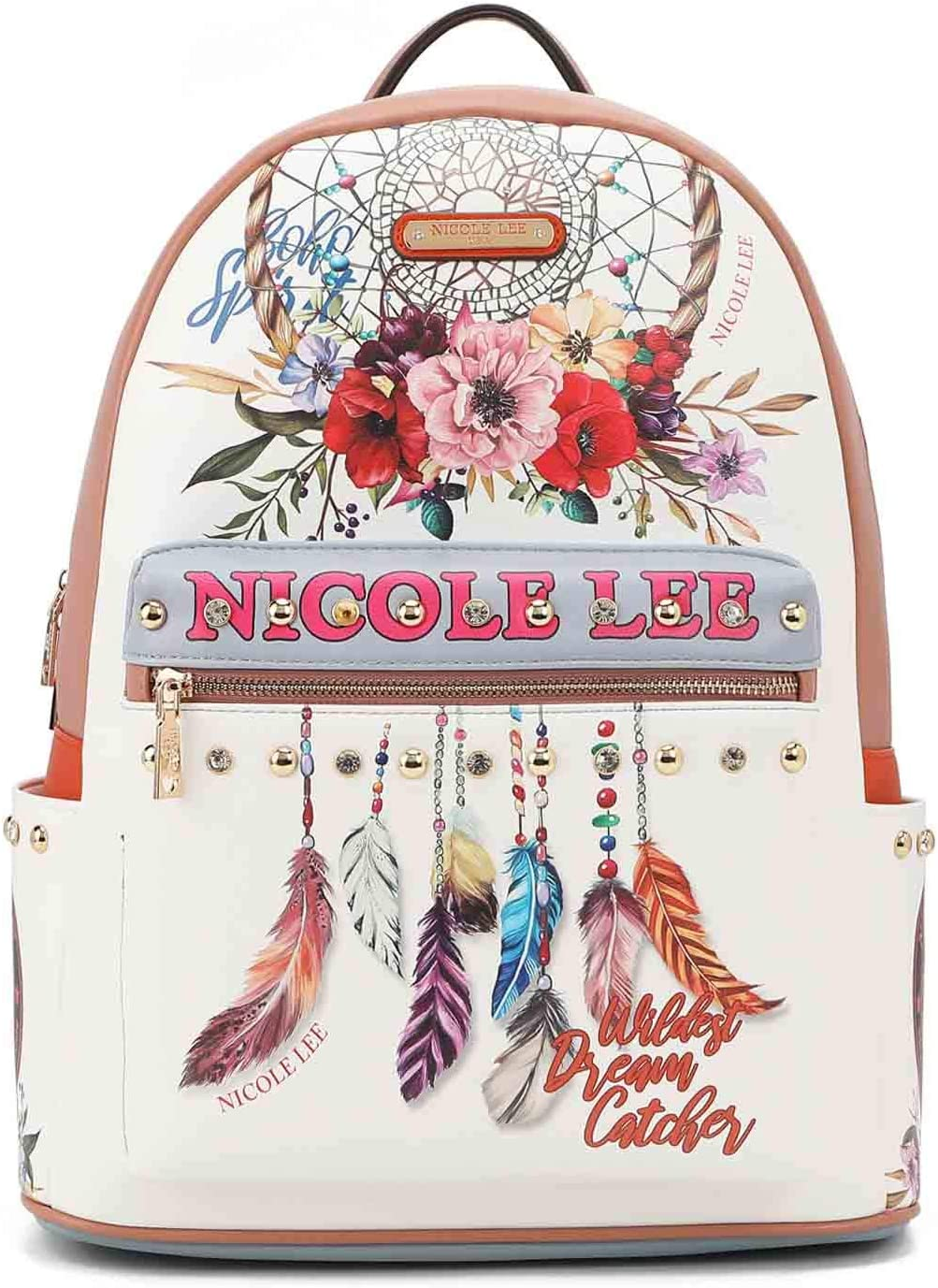 FASHION 引出物 PRINT BACKPACK チープ WITH USB CHARGING PORT BOHEMIAN WHITE