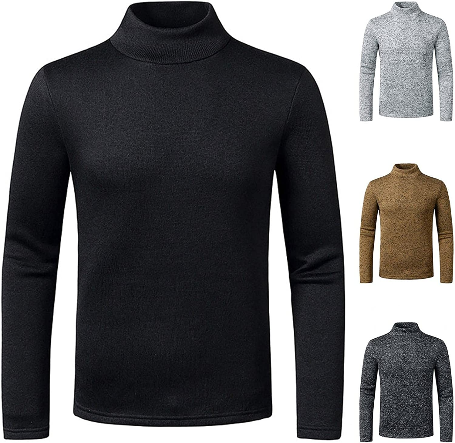 Men's Casual Slim Cotton Polyester Warm Special Campaign Half Alternative dealer Knitted High Basic